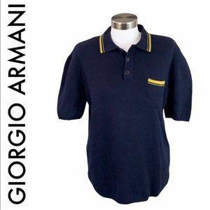 GIORGIO ARMANI MEN'S BLUE GOLD KNIT POLO SIZE M